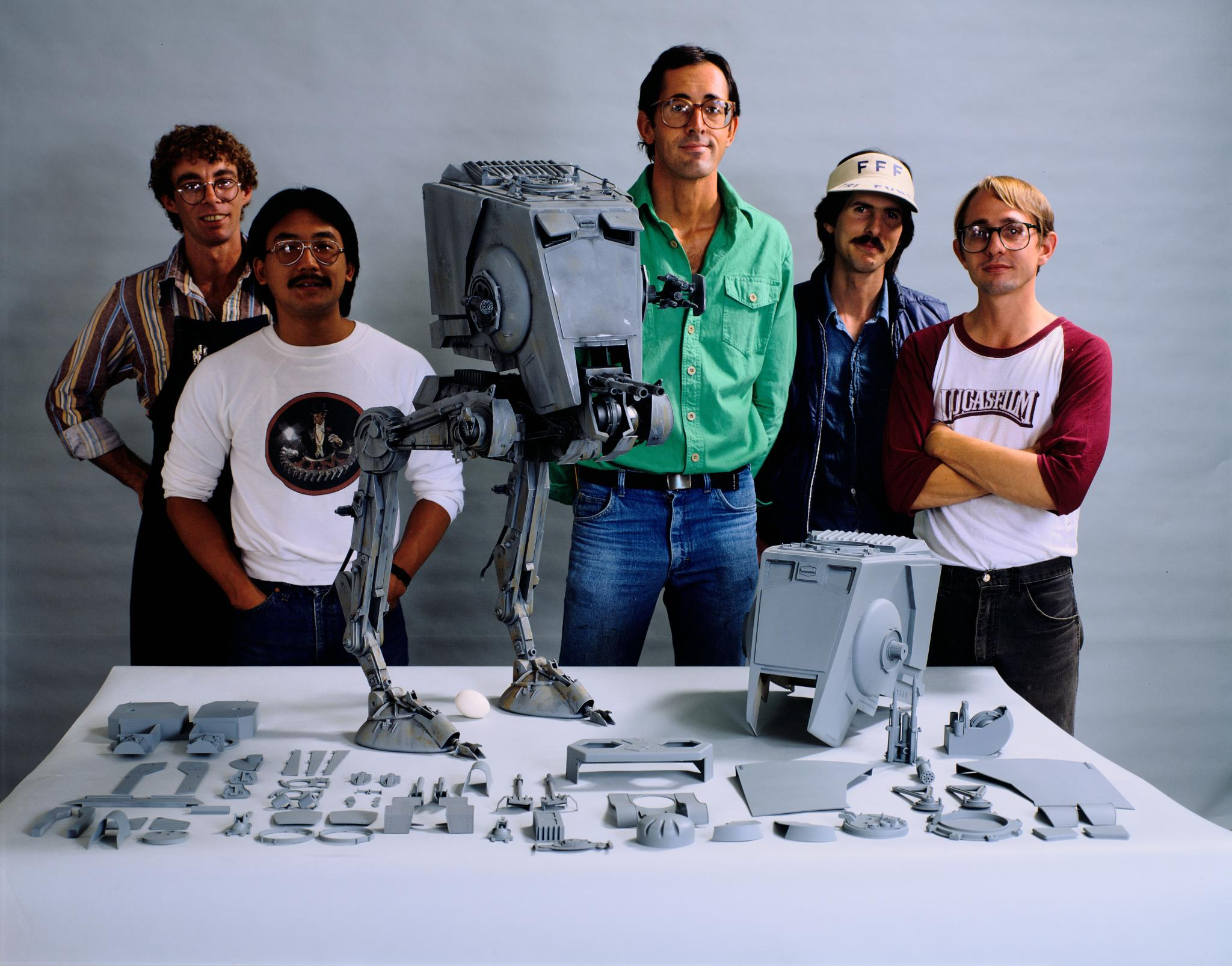 Pictured here, original ILM crew with finished AT-ST model for Star Wars: Return of the Jedi.