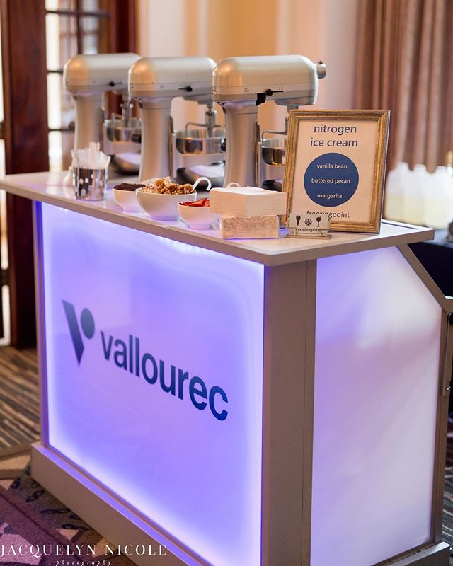 When we received the photos from @jacquelynnicolephoto our jaws dropped at how beautiful they turned out. The glowing #Vallourec vinyl was amazing at this event. ⠀ •⠀ •⠀ Two years ago we purchased these GlowBars. It was a large investment for us, but we knew that over time it would really help create a memorable experience. Seeing pictures like this one really drives home to our team that we are serving our clients to create that unforgettable experience.⠀ Venue: @crystalballhouston⠀ Planner: @eventologykelly ⠀ Photographer: @jacquelinenicolephoto Company: #vallourec ⠀ Event: @otcevents ⠀ Vinyl: @lacedvinylshoppe ⠀ Furniture: @ultimatebars ⠀⠀ #otcevents #otc50 #nitrogenicecream #spikedicecream #icecreamcatering #houstoncatering