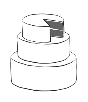 "3-tier wedding cake   - Starts at $300 - 10"" round, 8"" round, and 6"" round - each tier includes two layers of cake with a filling, simple fondant design."