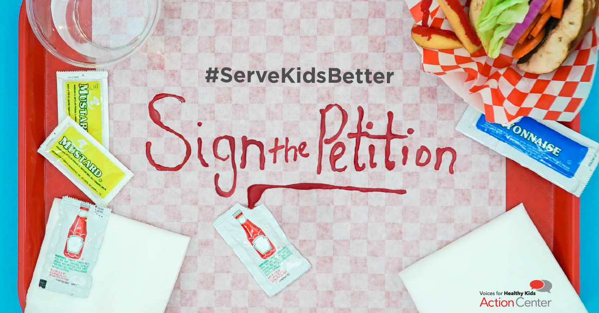 """Sign the Petition Graphic:  Recreated the scene of a just-finished fast food meal with """"sign the petition"""" drawn out in ketchup. Because this scene looks very similar to the first graphic, this graphic was recognizable as the final call to action for this campaign."""