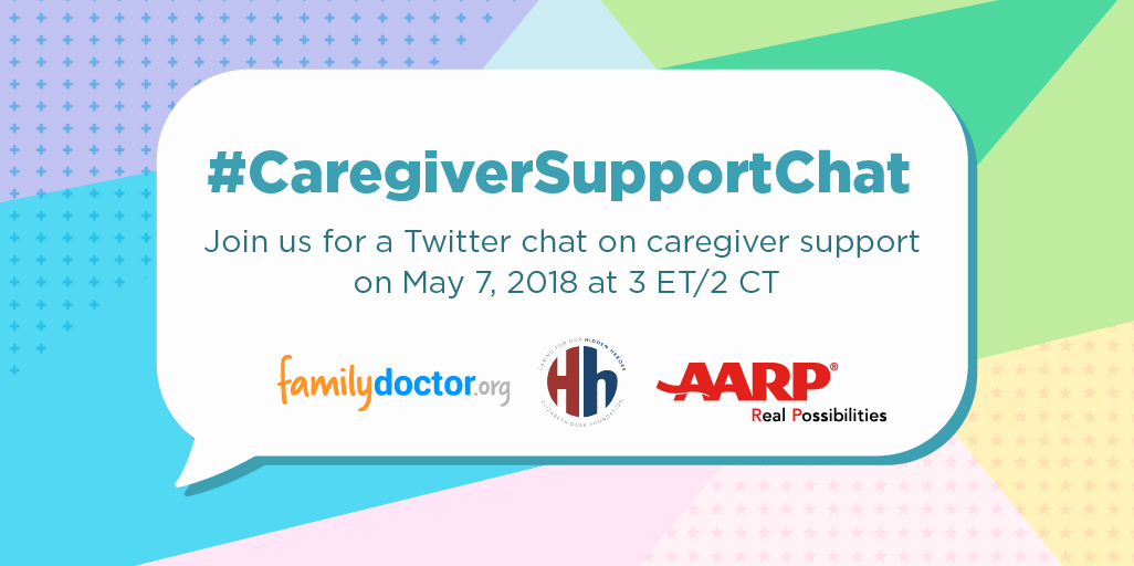 Graphic promoting a tri-brand Twitter Chat centered around supporting caregivers.