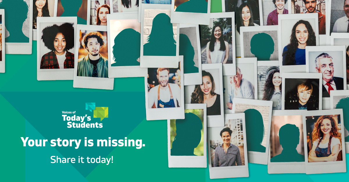 Missing Stories:  By using a photo collage of a diverse group, the audience will be able to identify with someone, and picture their own face in the empty silhouettes. The goal of this graphic was to collect as many personal stories as possible.