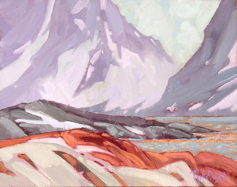 """Snowstorm over Peterman Island 11"""" x 14"""" oil on board SOLD"""