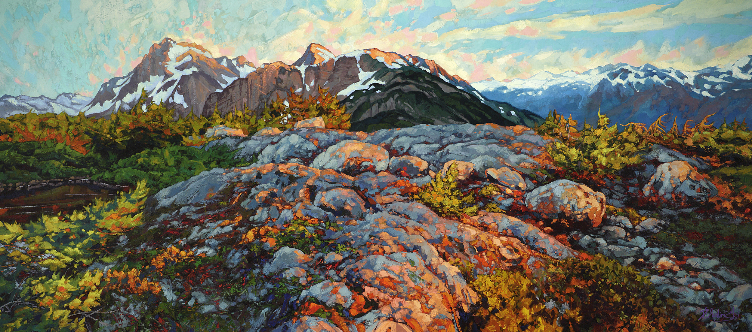 "Orange Above Valley Below 32"" x 72 oil on canvas"
