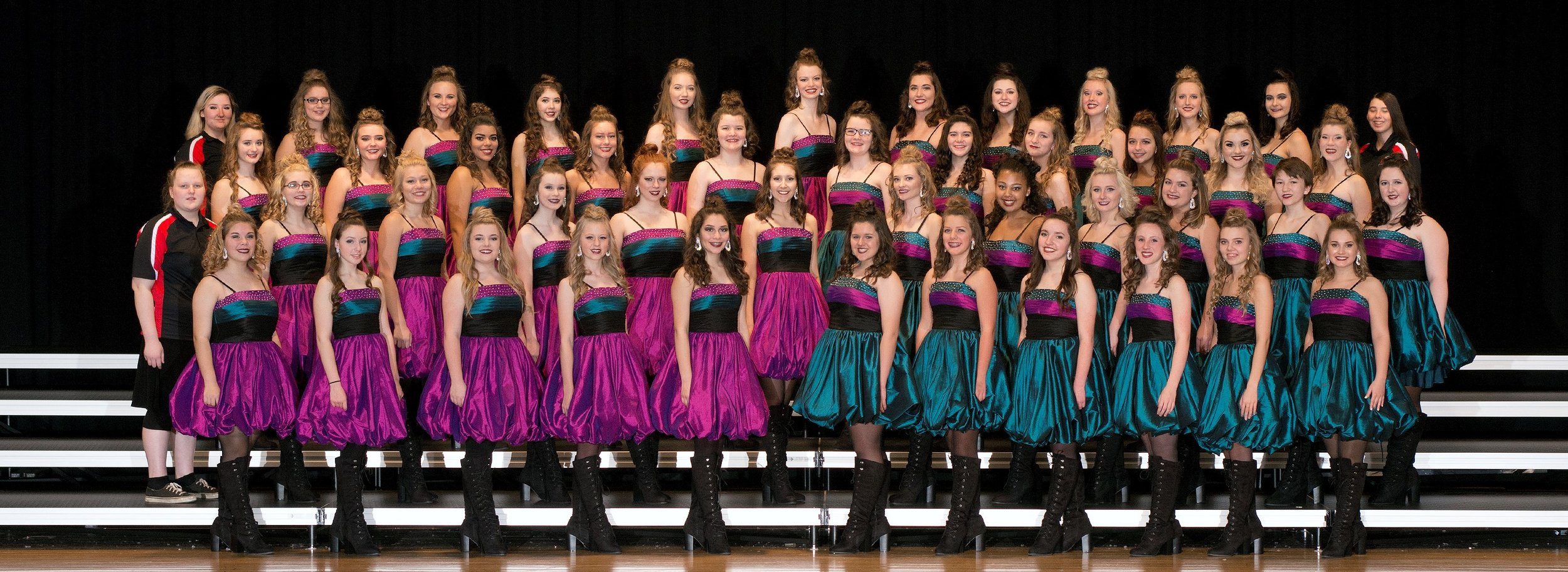 Sophisticated Ladies , the 44-member unisex choir from Edgewood High School, has been performing for 31 years! They too are choreographed by Jarad Voss and Tori Burns. These beautiful young women have traveled from coast to coast entertaining audiences, winning various caption awards, and capturing several Grand Champion trophies.