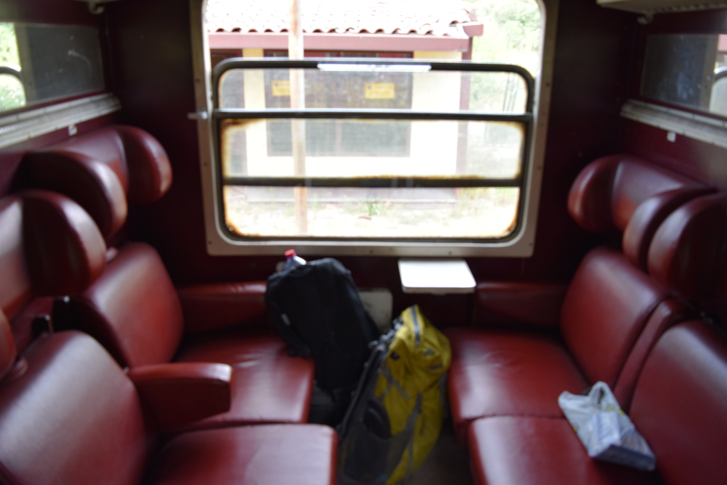 Inside the Macedonian train car