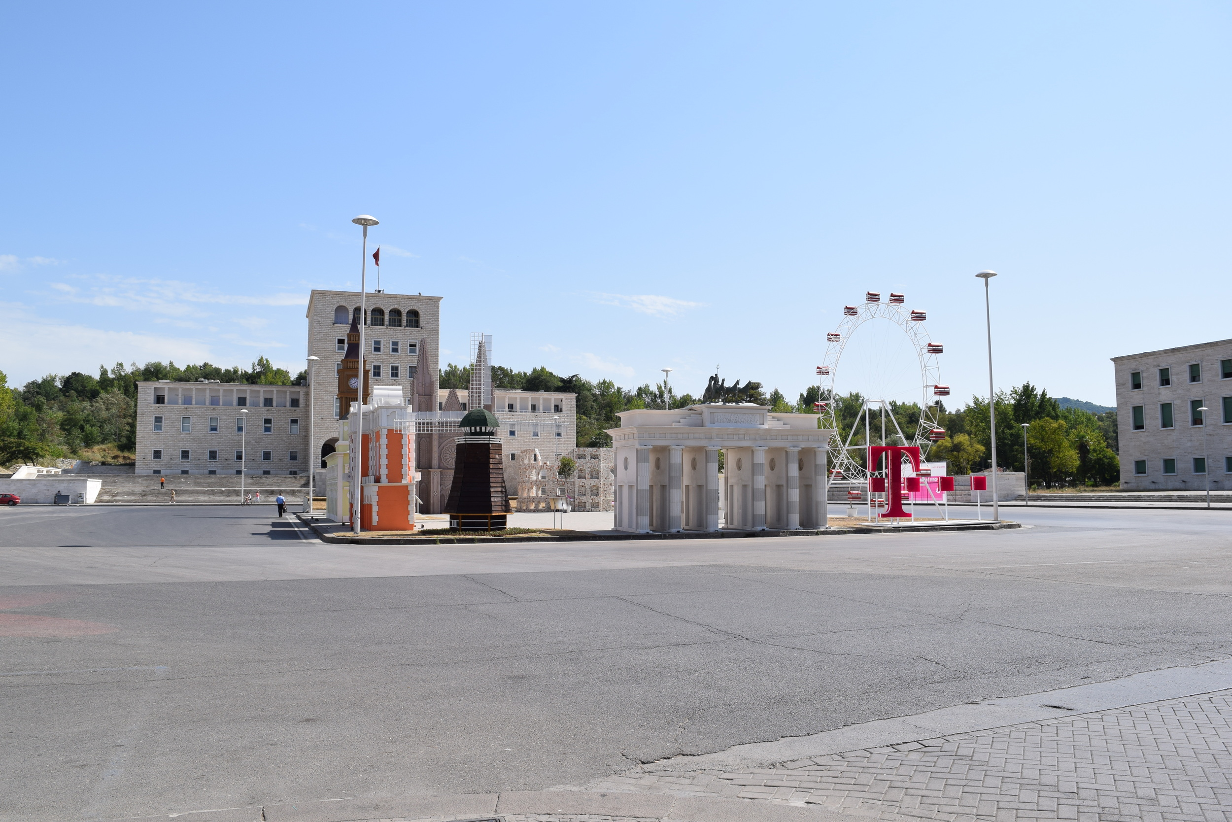 Mother Teresa Square. The middle area is a promotional plaza from T-Mobile.