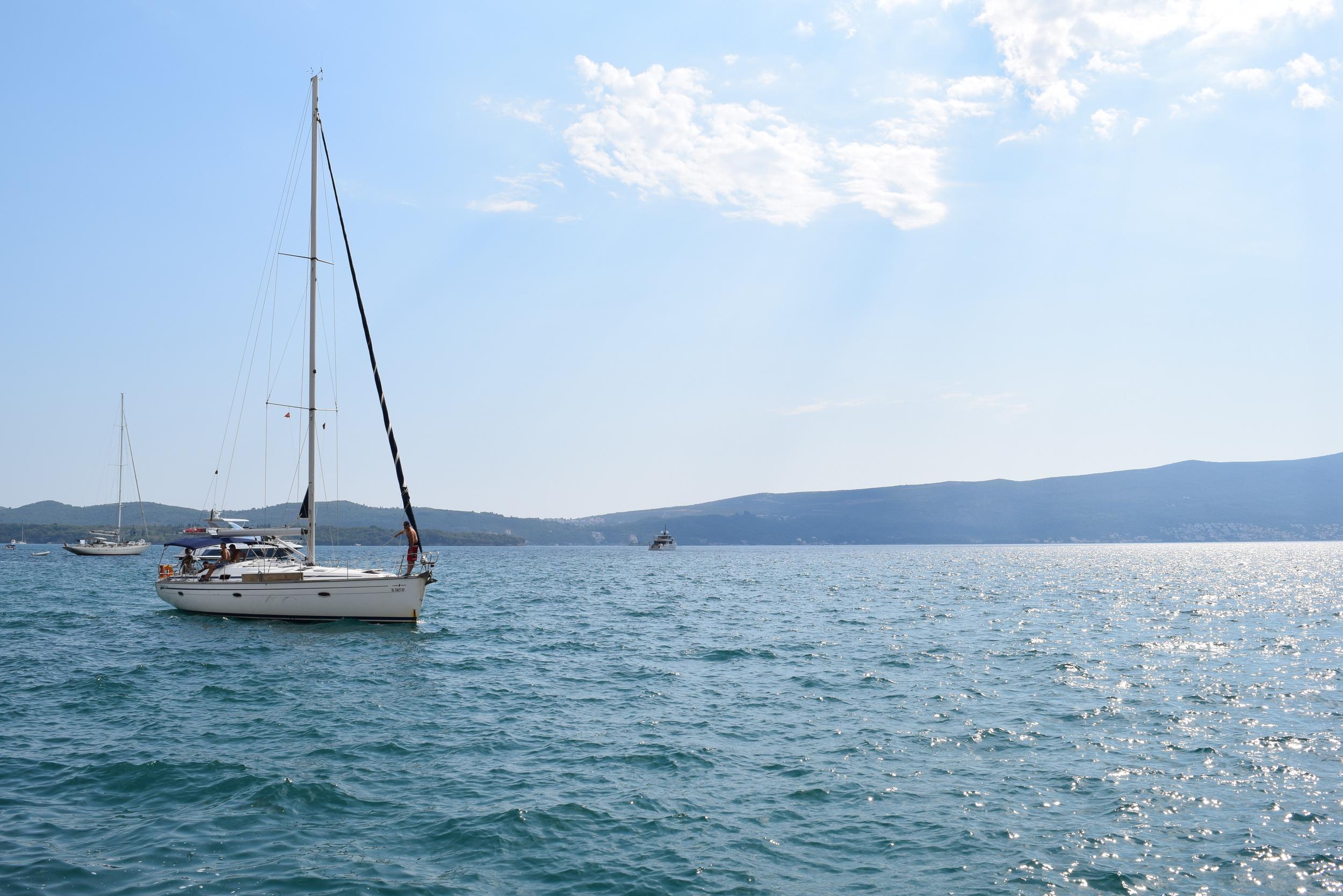 Boats on the bay near Tivat