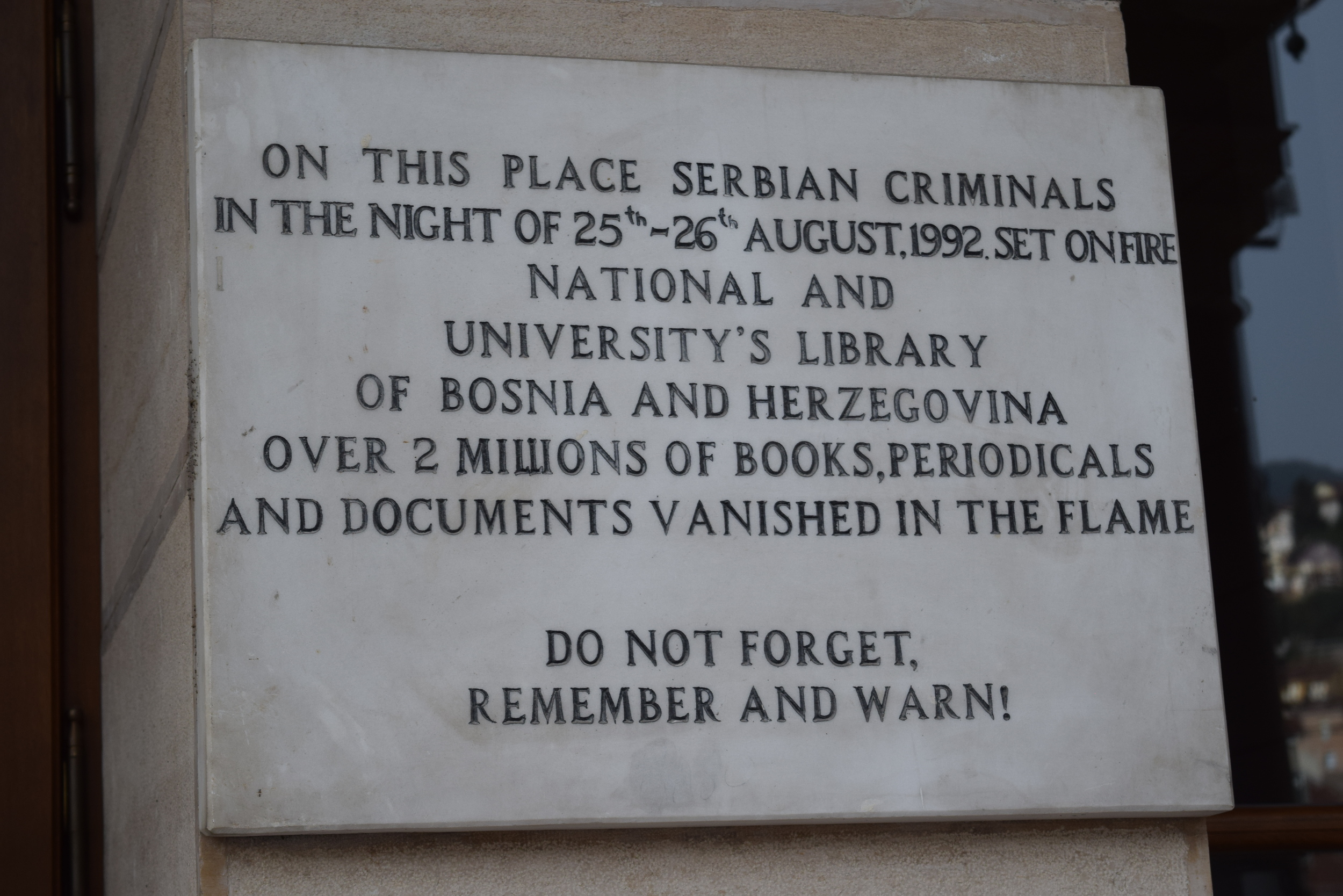 Plaque recognizing destruction of the library