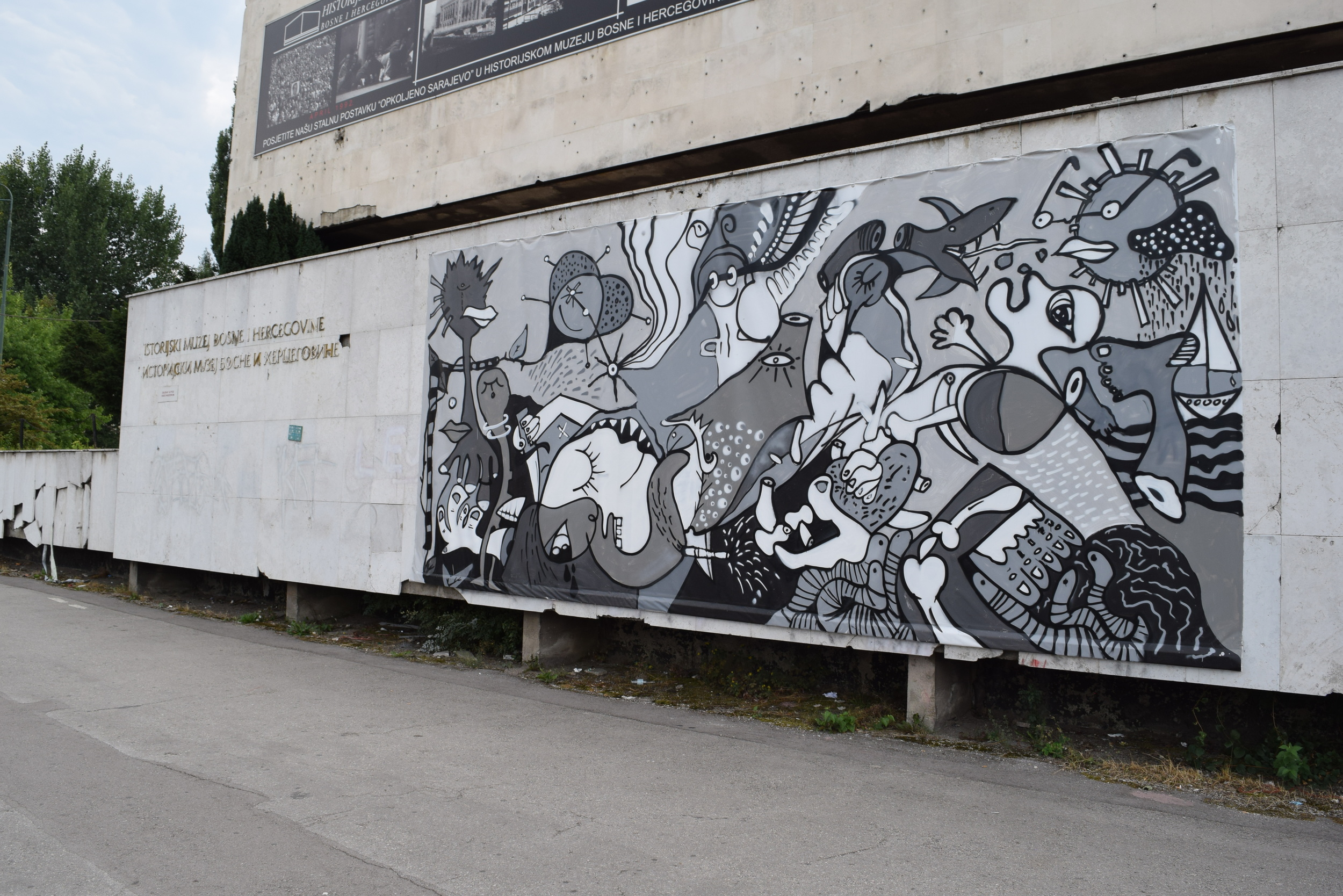 Mural displayed in front of the museum