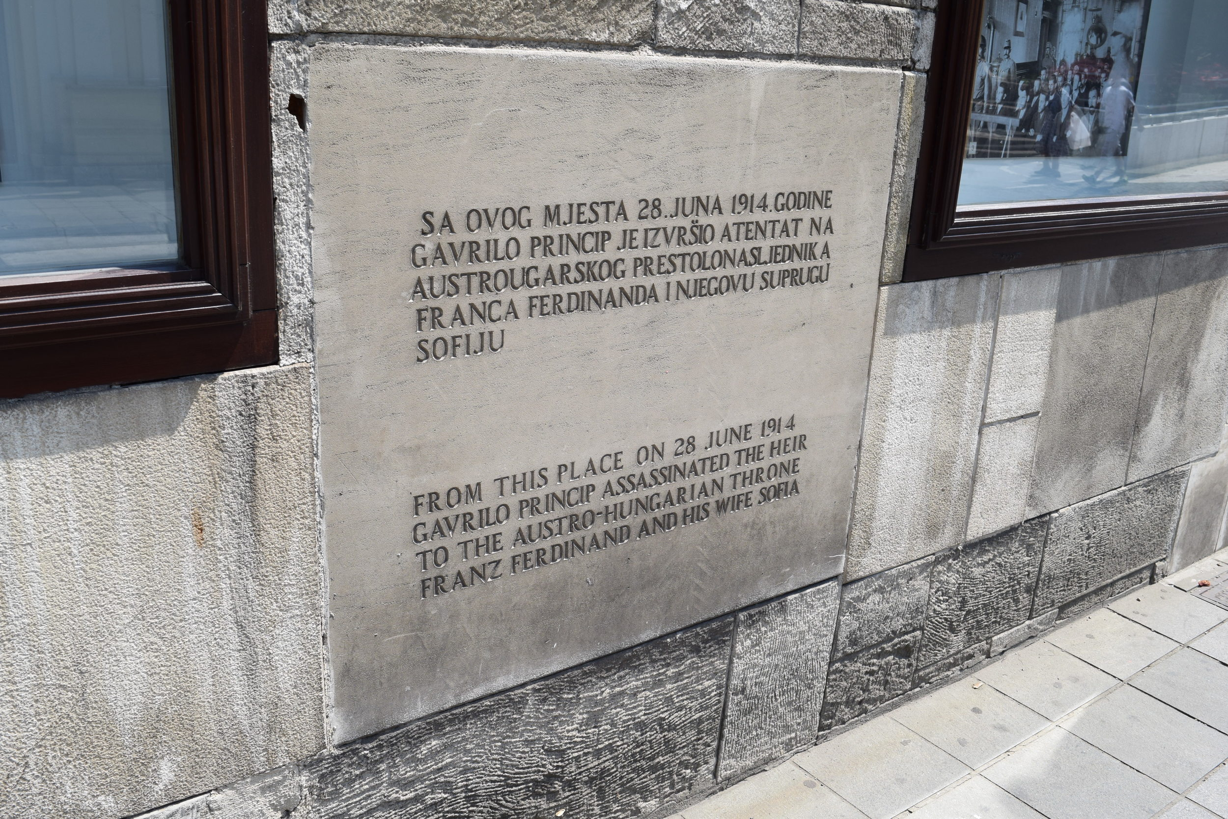 Historical marker at the assassination site.  Prior to Bosnian independence a monument celebrating Gavrilo Princip also stood nearby.  The assassin was viewed as a hero by Serbs.