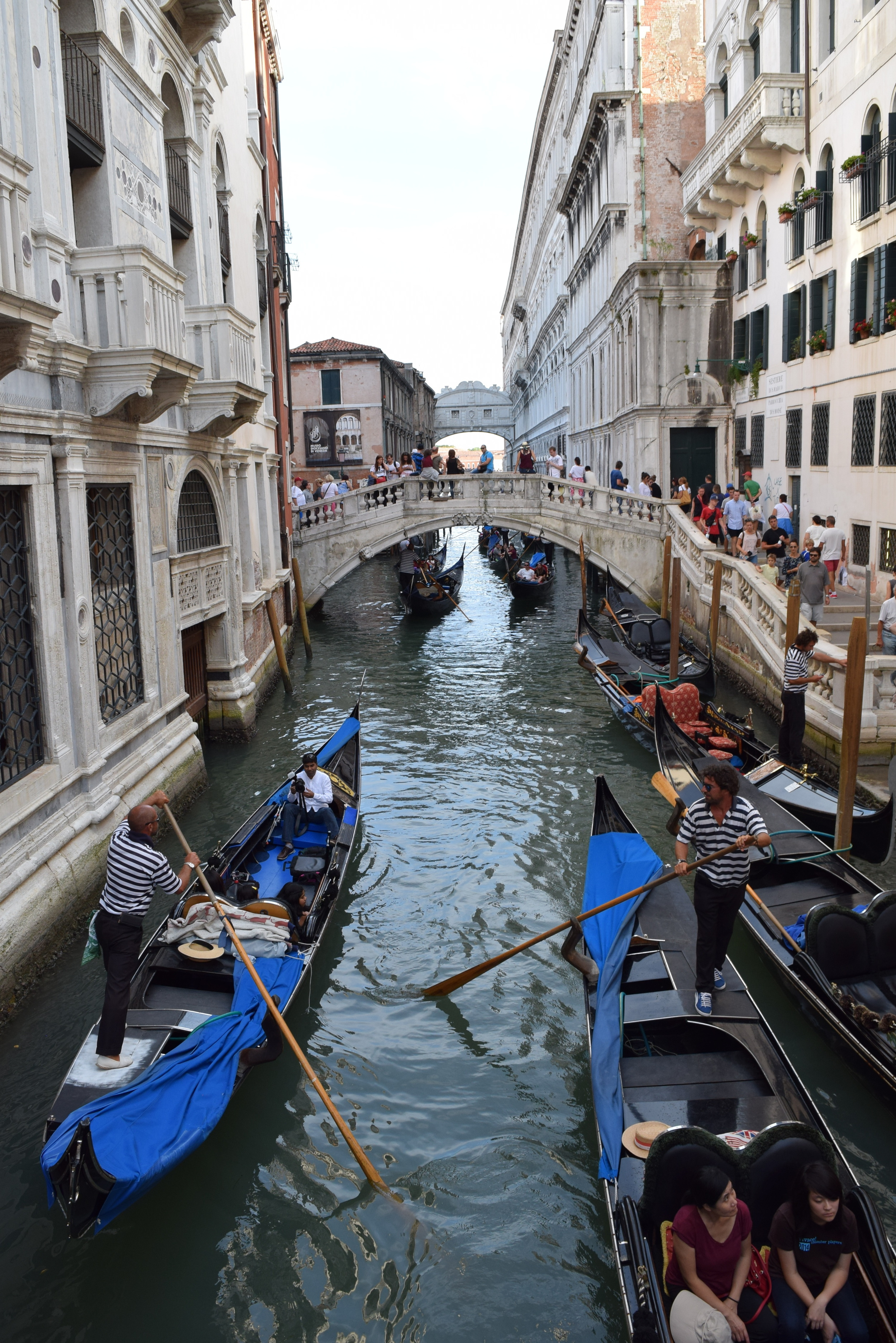 Gondola's floating down one of Venice's canals