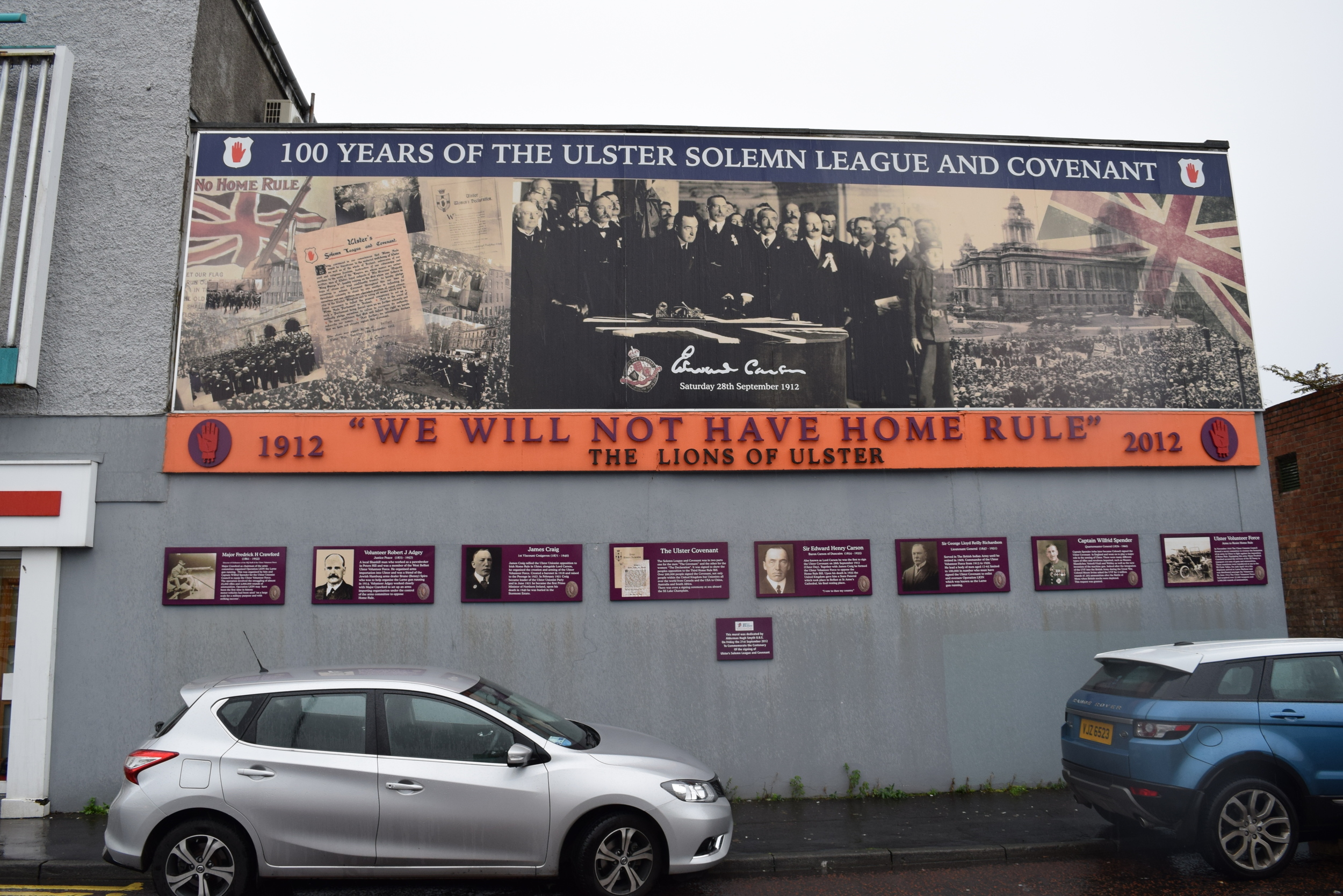 Mural commemorating the Ulster Covenant, a 1912 oath signed by nearly 240,000 men opposing Irish Home Rule.