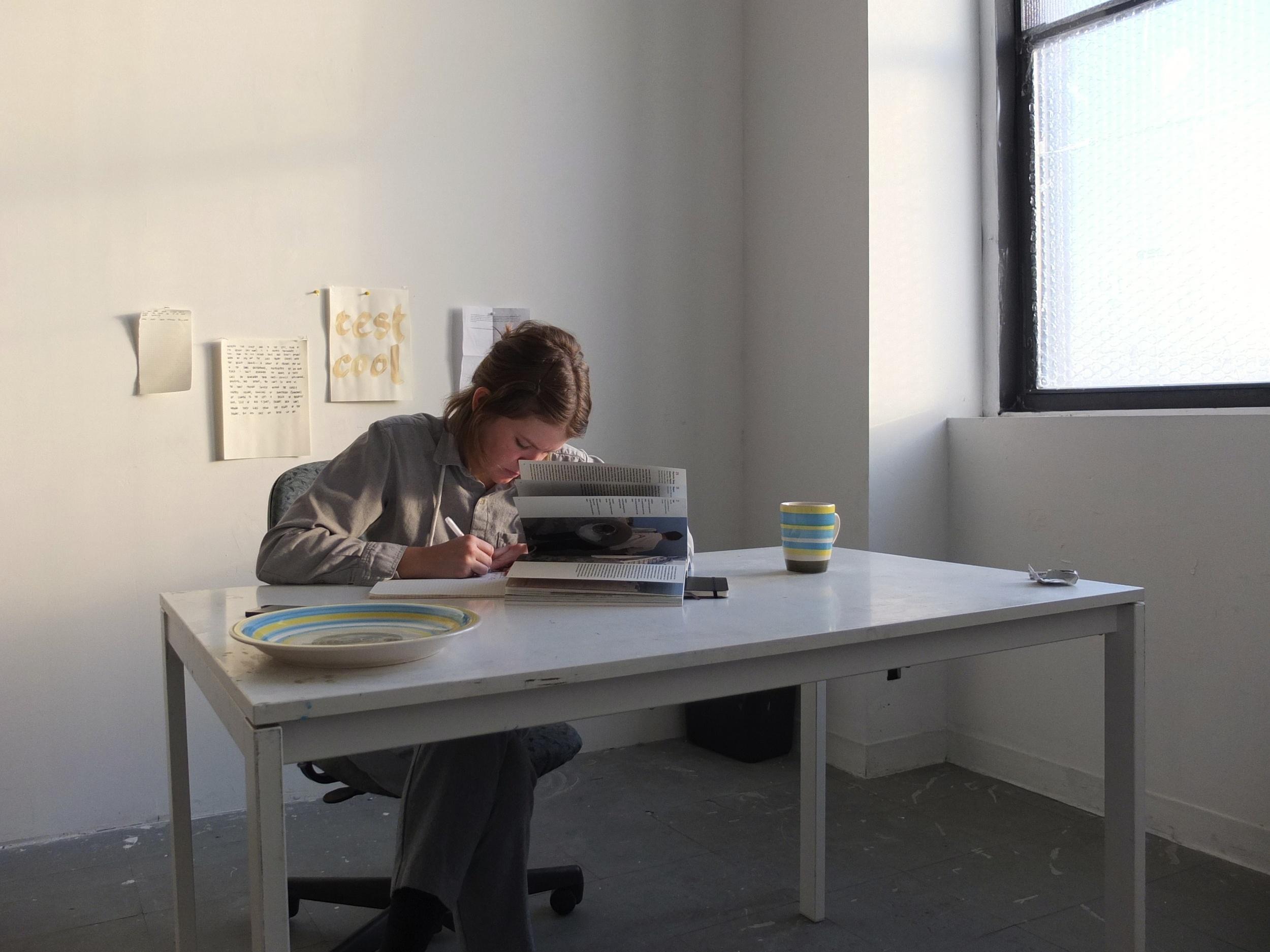 Jacqui hard at work in her studio