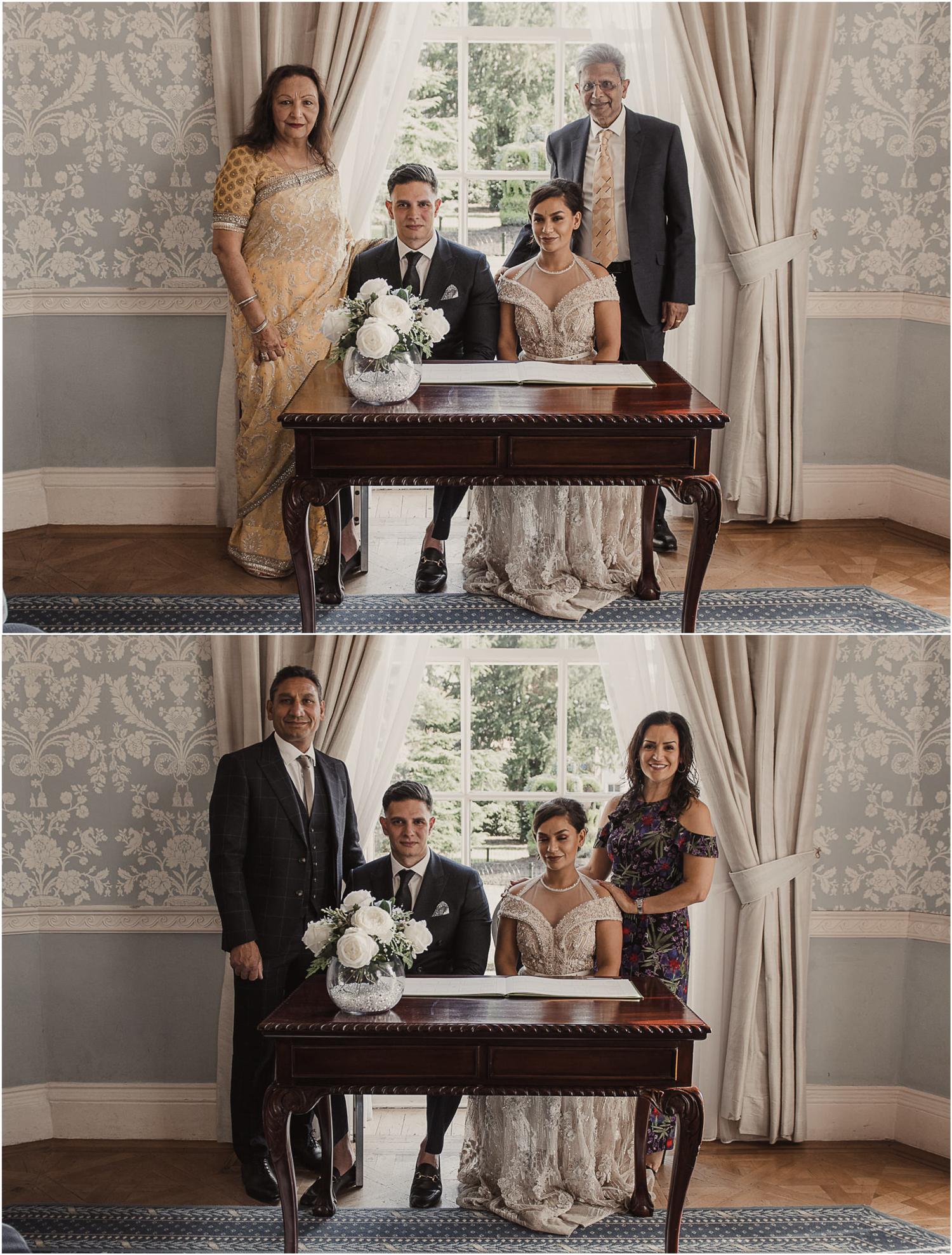 Langtons House wedding couple parents photos