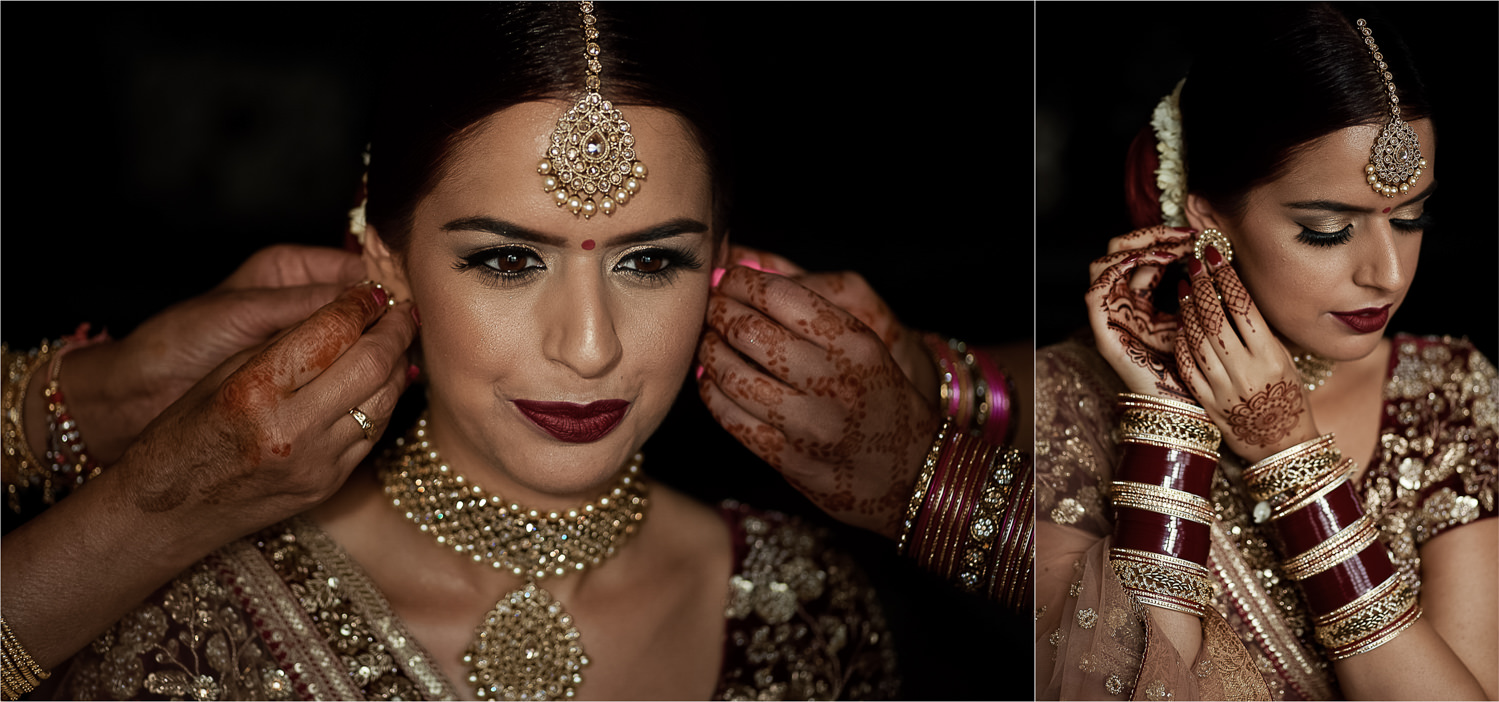 Sikh bride putting on her earrings