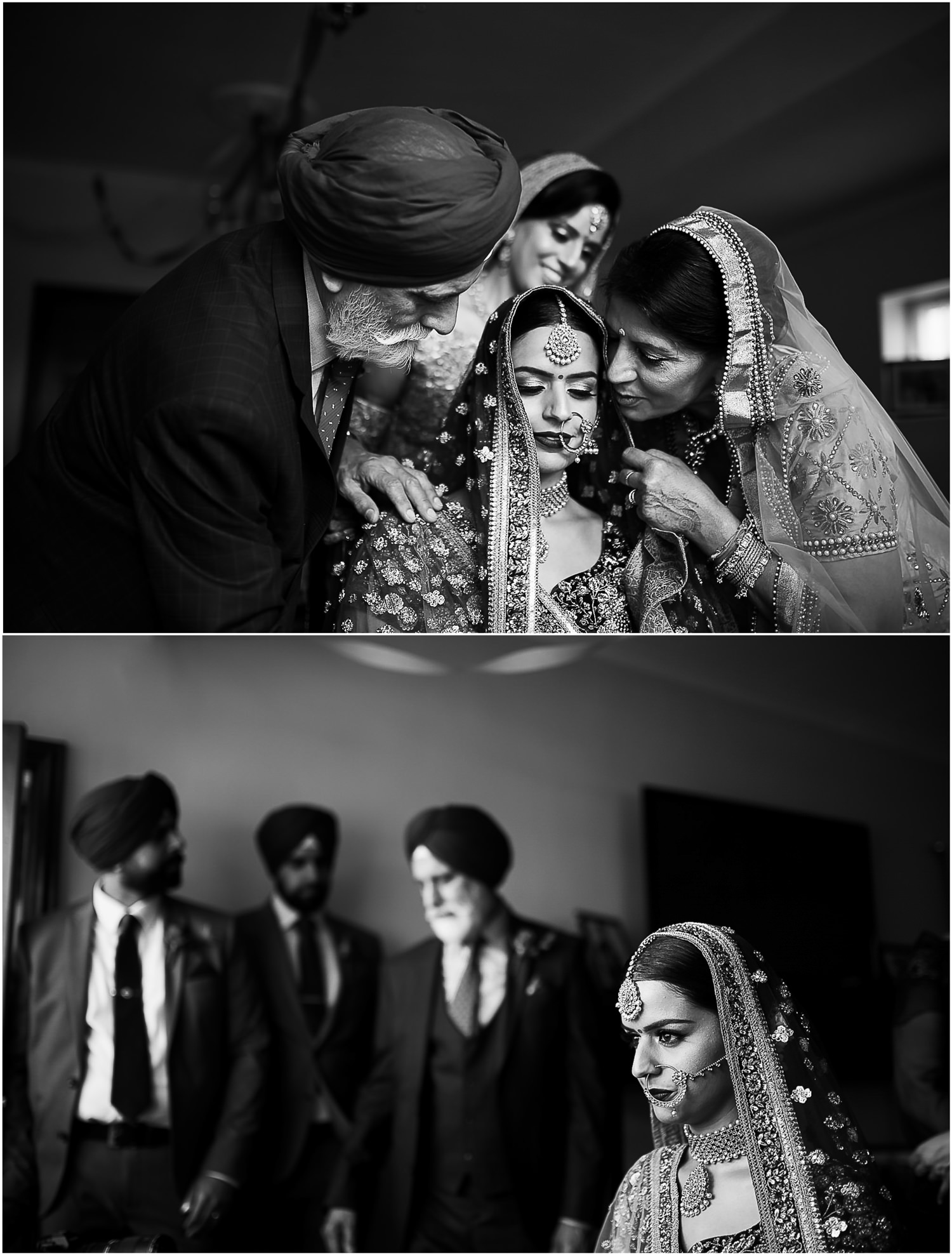 Family with Indian bride in the morning