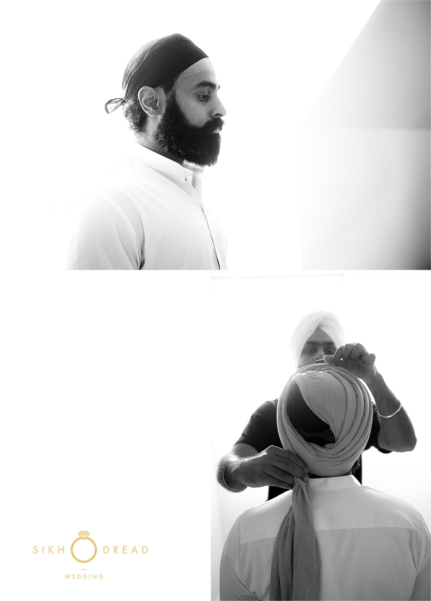 Sikh groom getting ready tying pagh