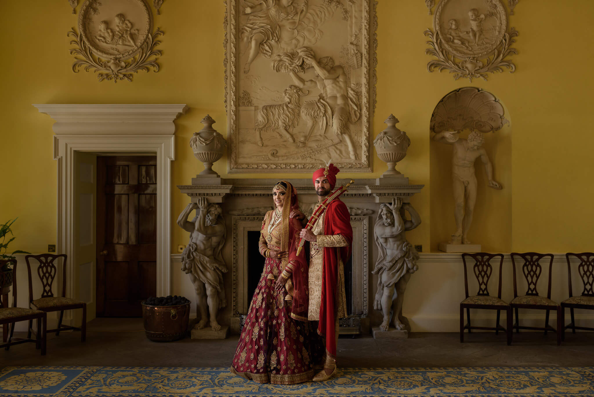 Hagley Hall wedding portrait Birmingham