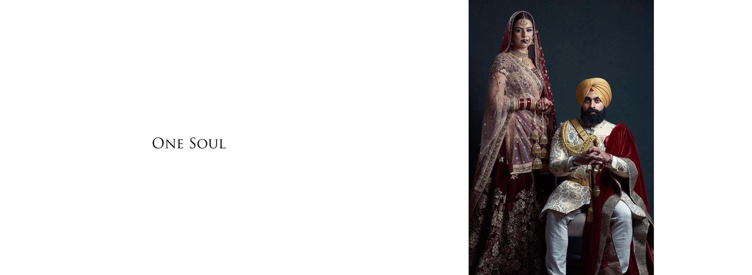 Sikh Wedding Album spread 1 - Couple portrait