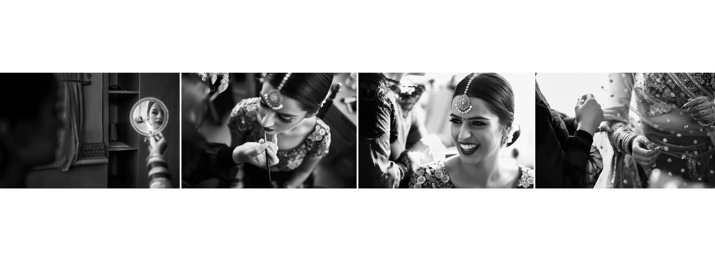 Sikh Wedding Album spread 4 - bride getting makeup
