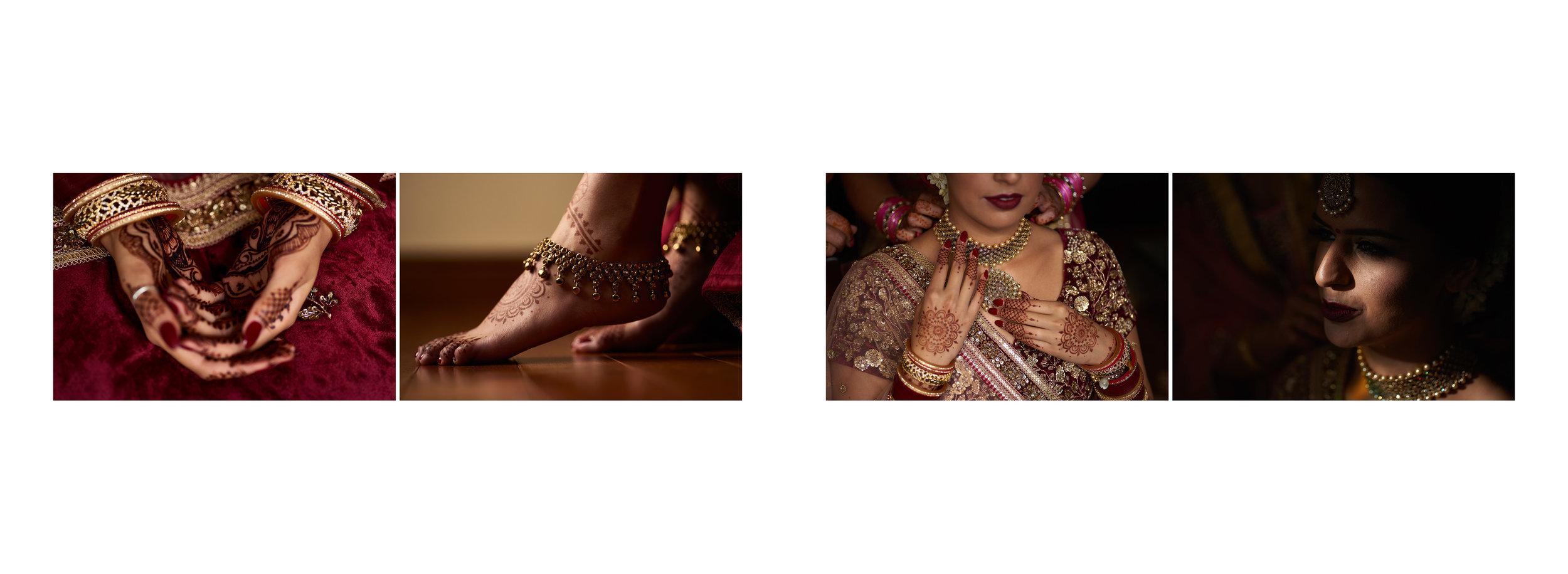 Sikh Wedding Album spread 6 - bride outfit closeups