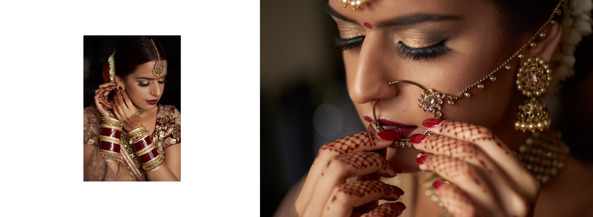Sikh Wedding Album spread 7 - bride putting on jewellery