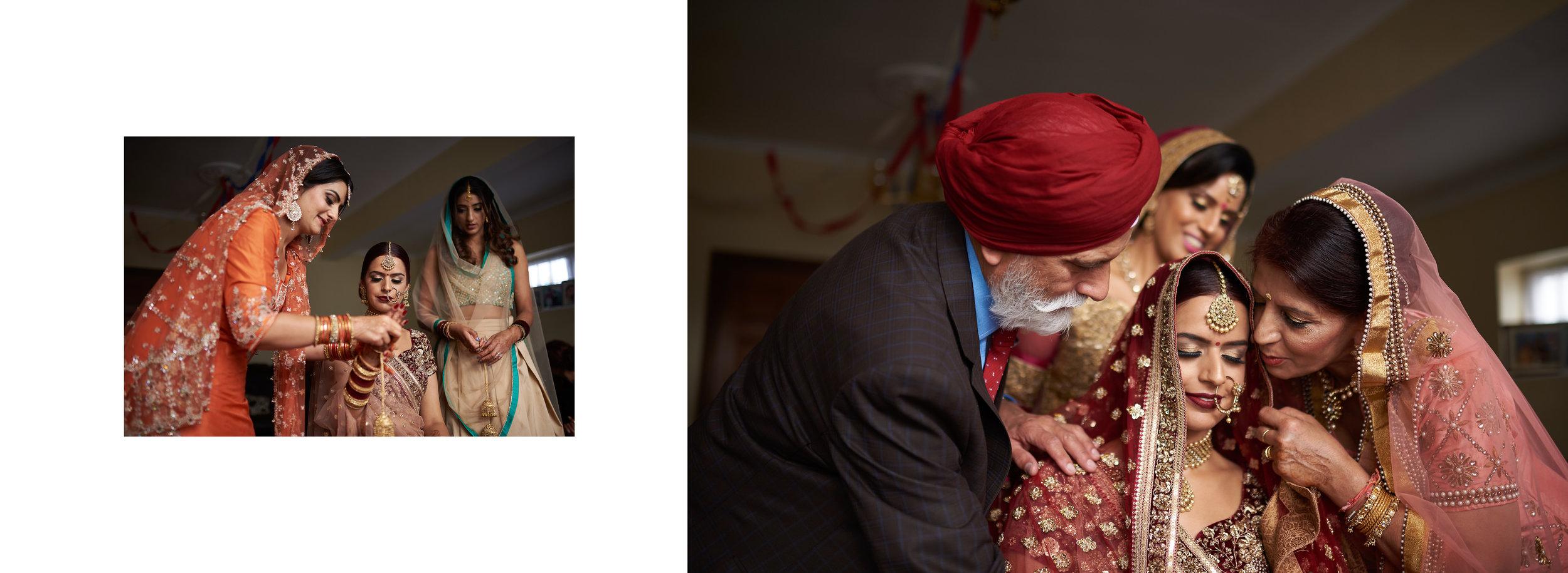 Sikh Wedding Album spread 9 - brides family putting chunni on