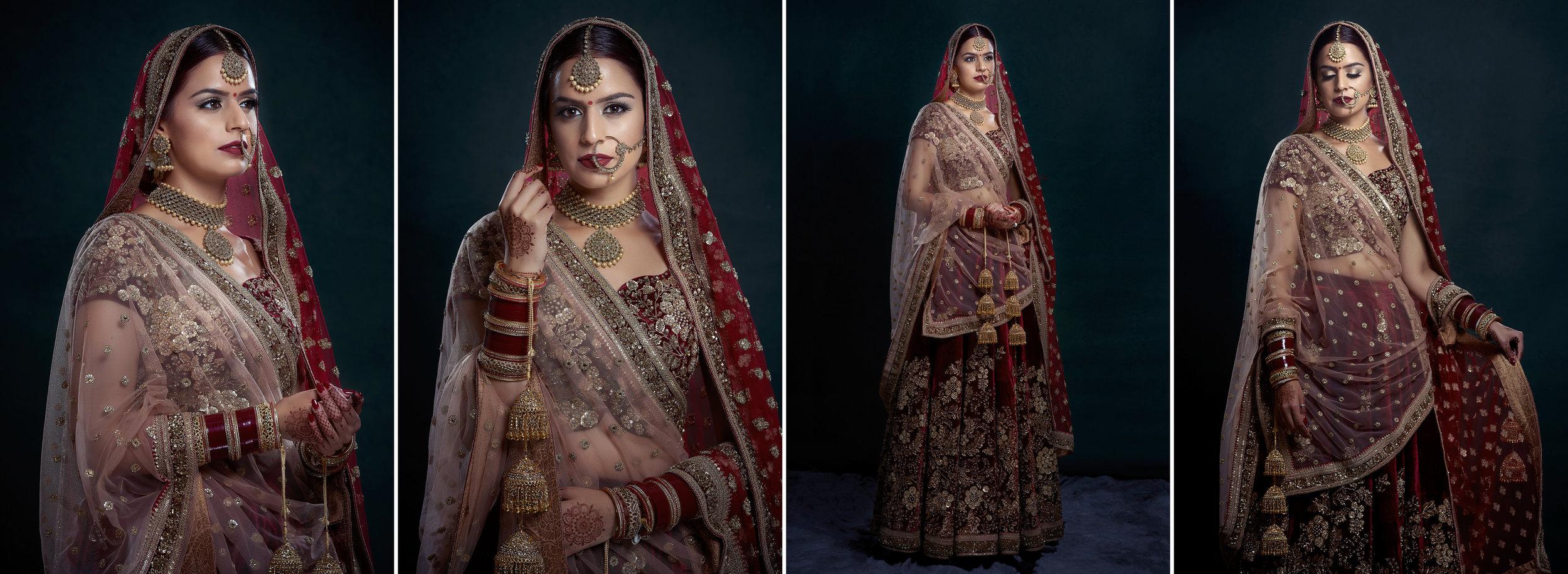 Sikh Wedding Album spread 12 - bridal portraits wearing Sabyasachi