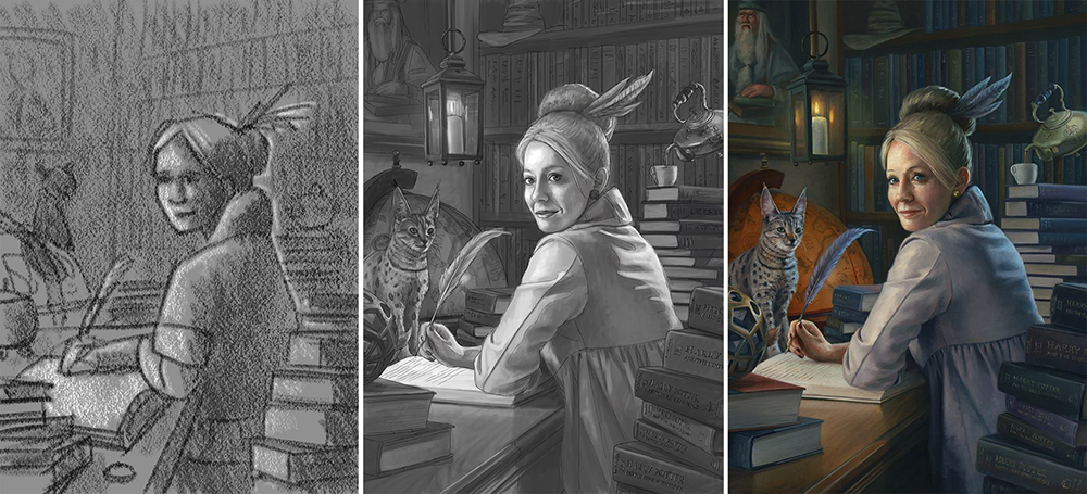 Thumbnail, value sketch, and final painting