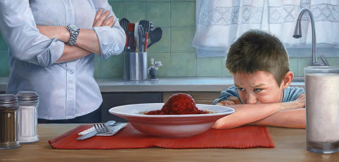 """Dinnertime,23.5"""" x 11.25"""", oils on panel"""