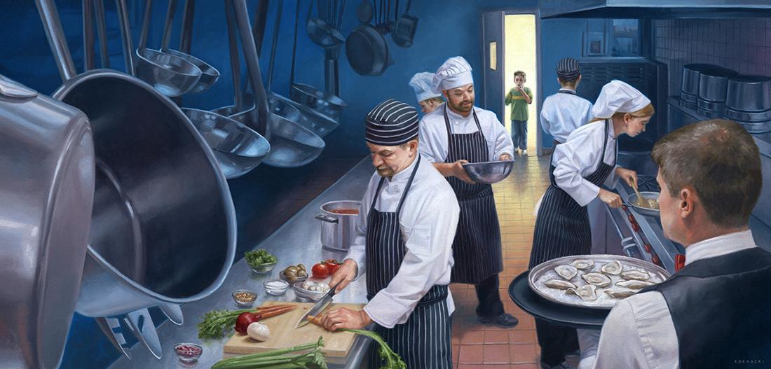 """The Midnight Kitchen,  11.25"""" x   23.5  """"  ,  o  ils on panel"""