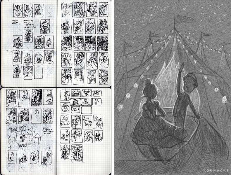 Left:  Rough sketchbook Thumbnails.   Right:  Revised Final Digital Thumbnail.