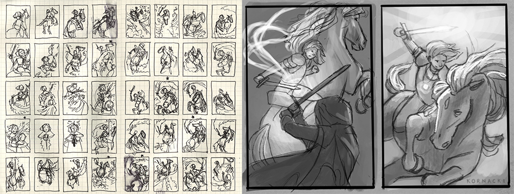 Left:  Rough sketchbook thumbnails.  Right:  Revised final digital thumbnails.