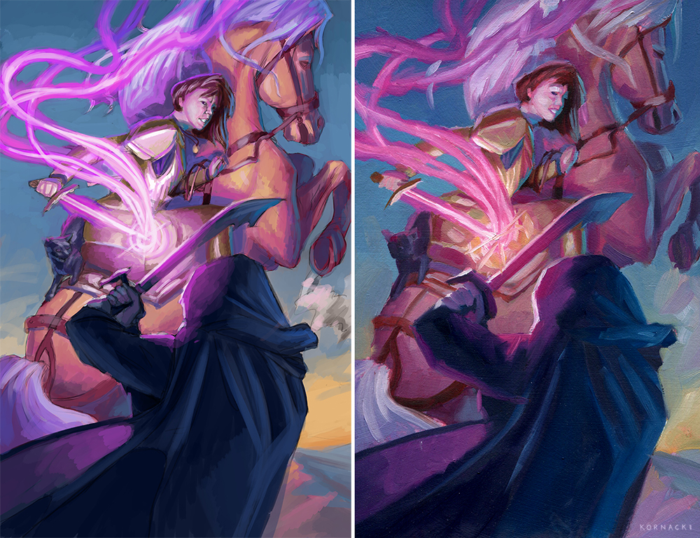 "Left:  Digital color study.  Right:  Small 7"" oil color study"