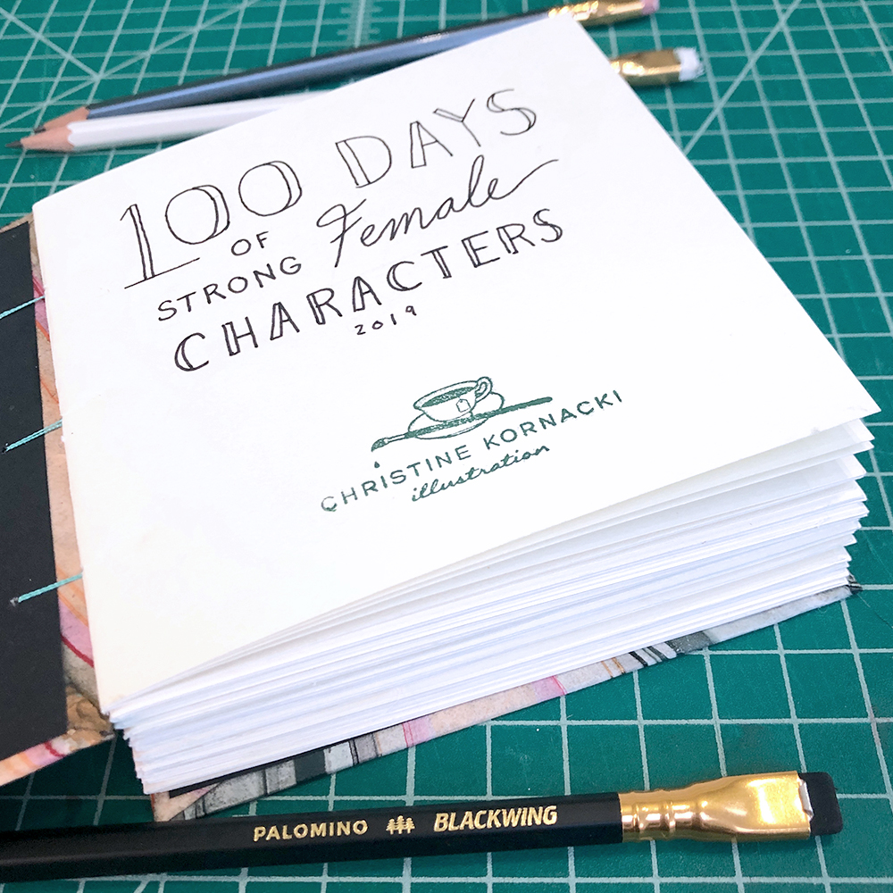 I began by hand binding my own sketchbook using Strathmore Series 400 drawing paper with 100 pre-numbered pages.