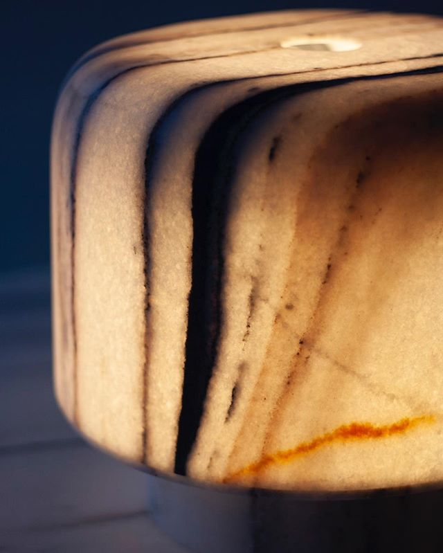The Foxfire lamps completely envelope the light source, the marble absorbs the light from within, gently translating the electric glare into an earthy radiance.  The cloudy translucence enhances the structure of white crystals and the complexity of impurities in them. . . . #foxfirelamps #marbleoffcuts #inpraiseofshadows #IndiaInMind #studiorawmaterial #collectibledesign