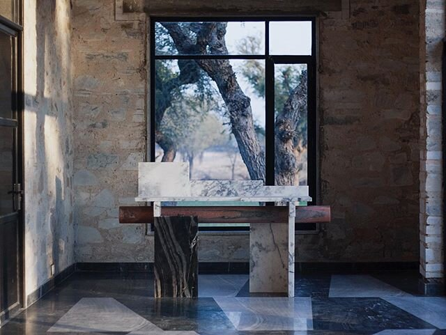 Nawa console in our studio in Rajasthan #TharHouse #studiorawmaterial #MarbleOffcuts #IndiaInMind #CollectibleDesign