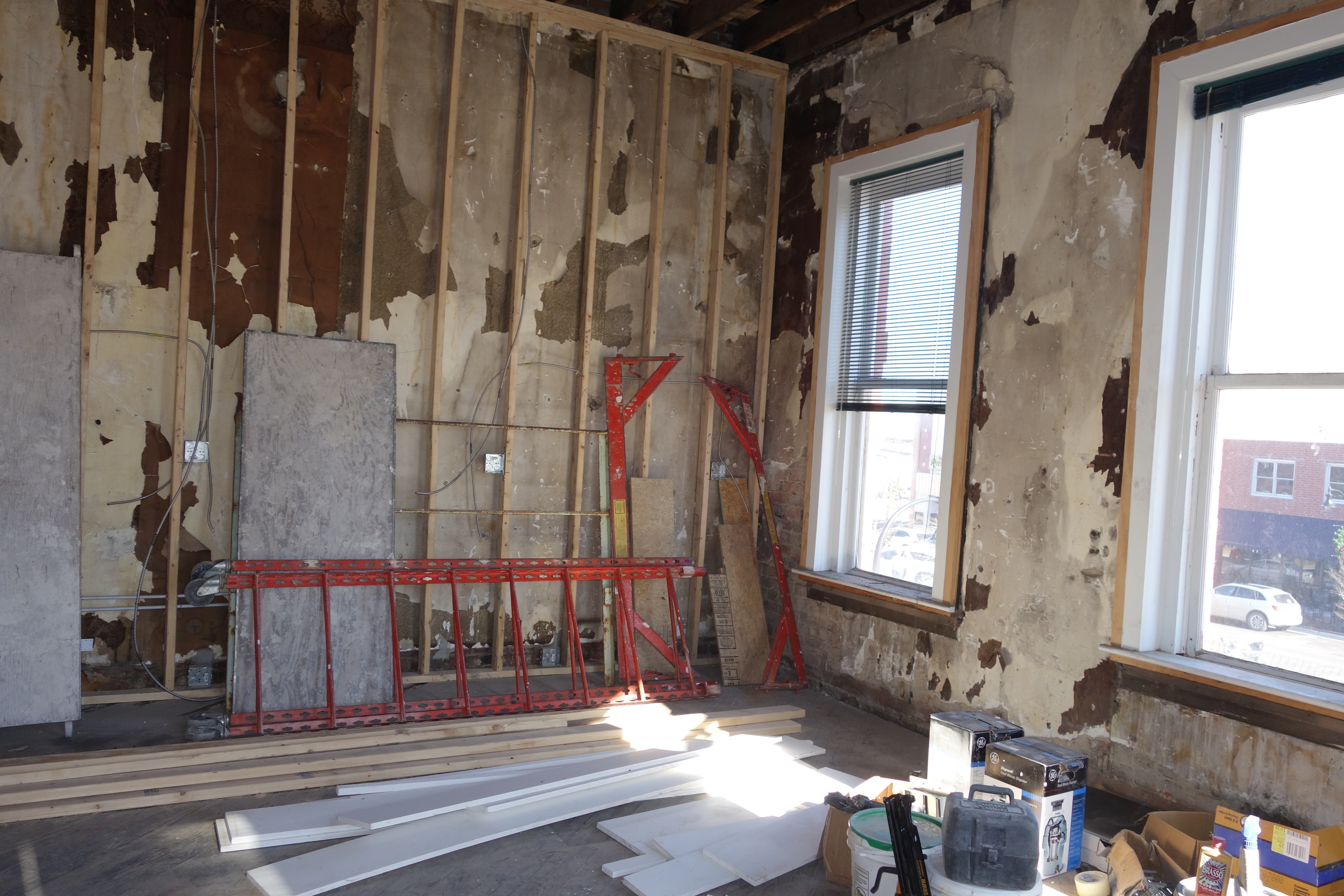 Framing is underway in the new kitchen.