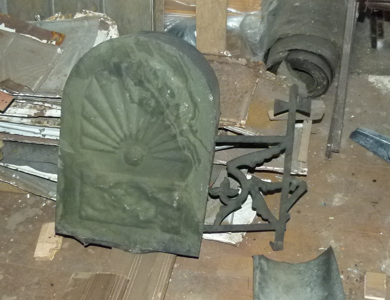 Front view of metal object found during construction at 106 Person St. in Fayetteville