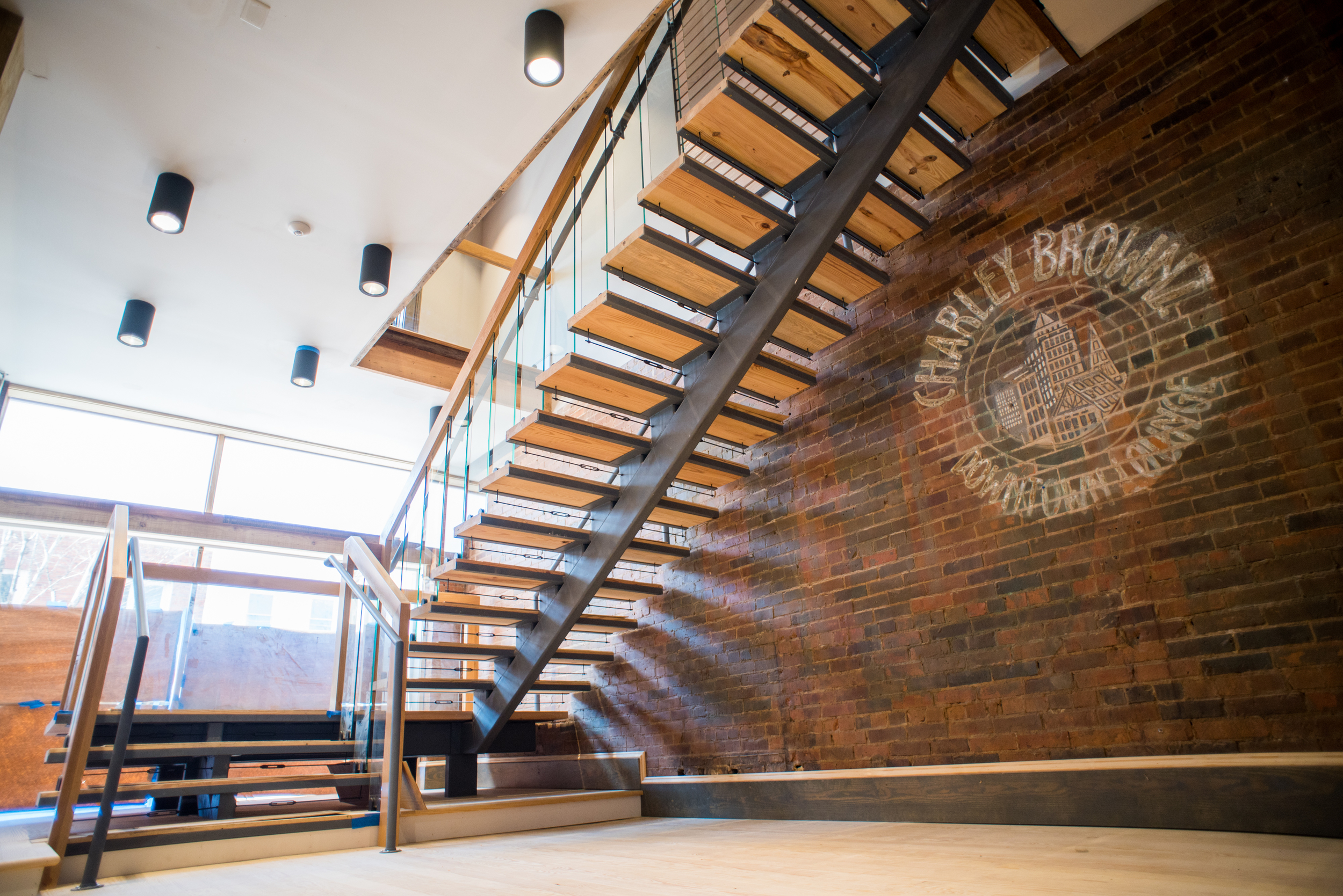 New monumental stair leading to second floor reception area