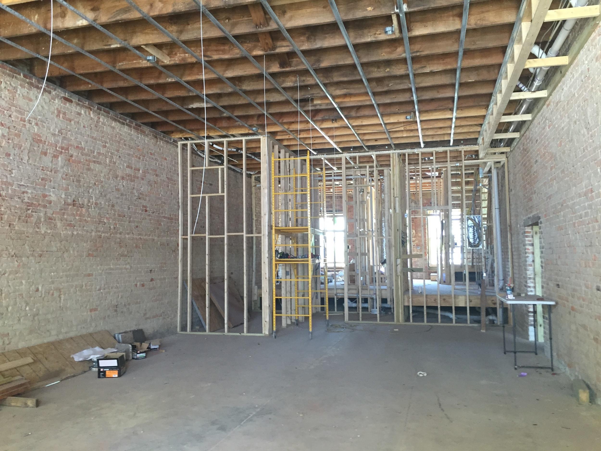 First floor retail space underway.