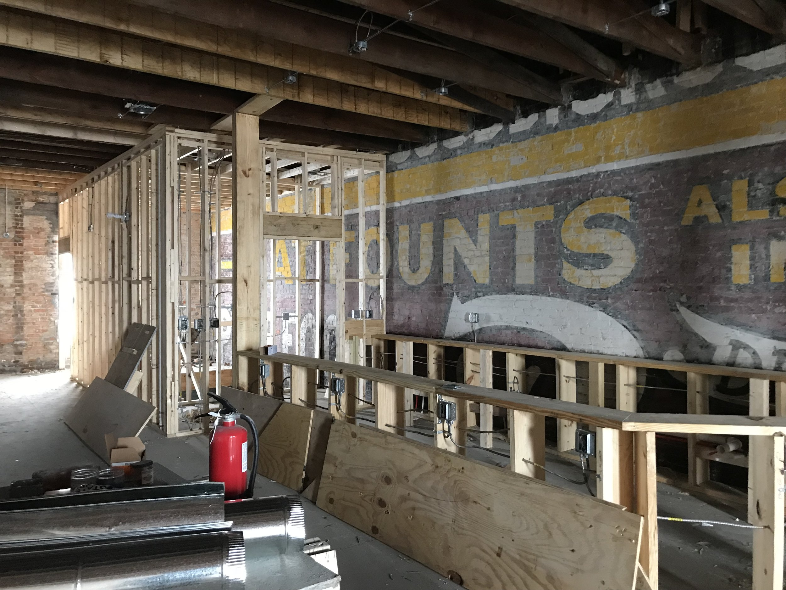A mural that was discovered under an existing wall will remain exposed behind the future upstairs bar.