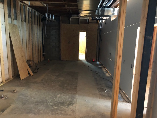Sheetrock up in the kitchen.