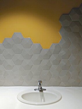 Hex tile in restroom (mirror will be installed)
