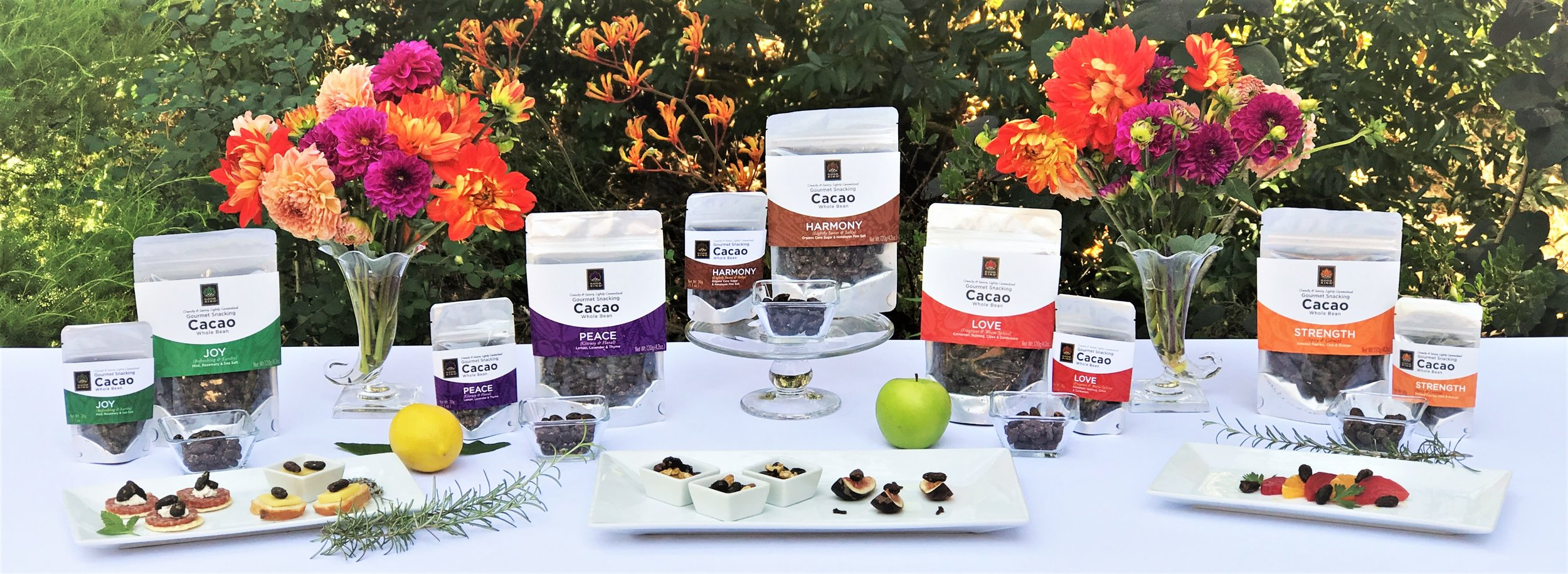 good-king-gourmet-snacking-cacao-recipes-pairings-table-5-flavors-2-sizes.jpg