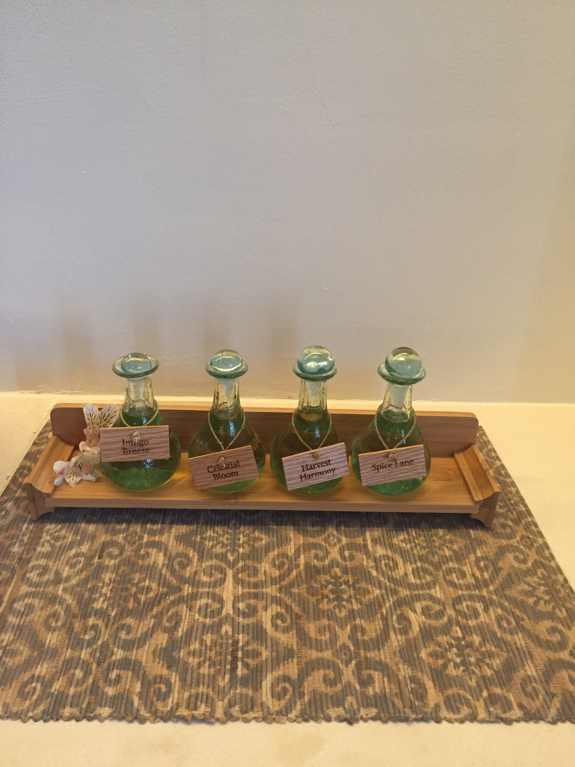 Massage oils to pick from: Indigo Breeze, Celestial Bloom (my pick), Harvest Harmony and Spice Lane.