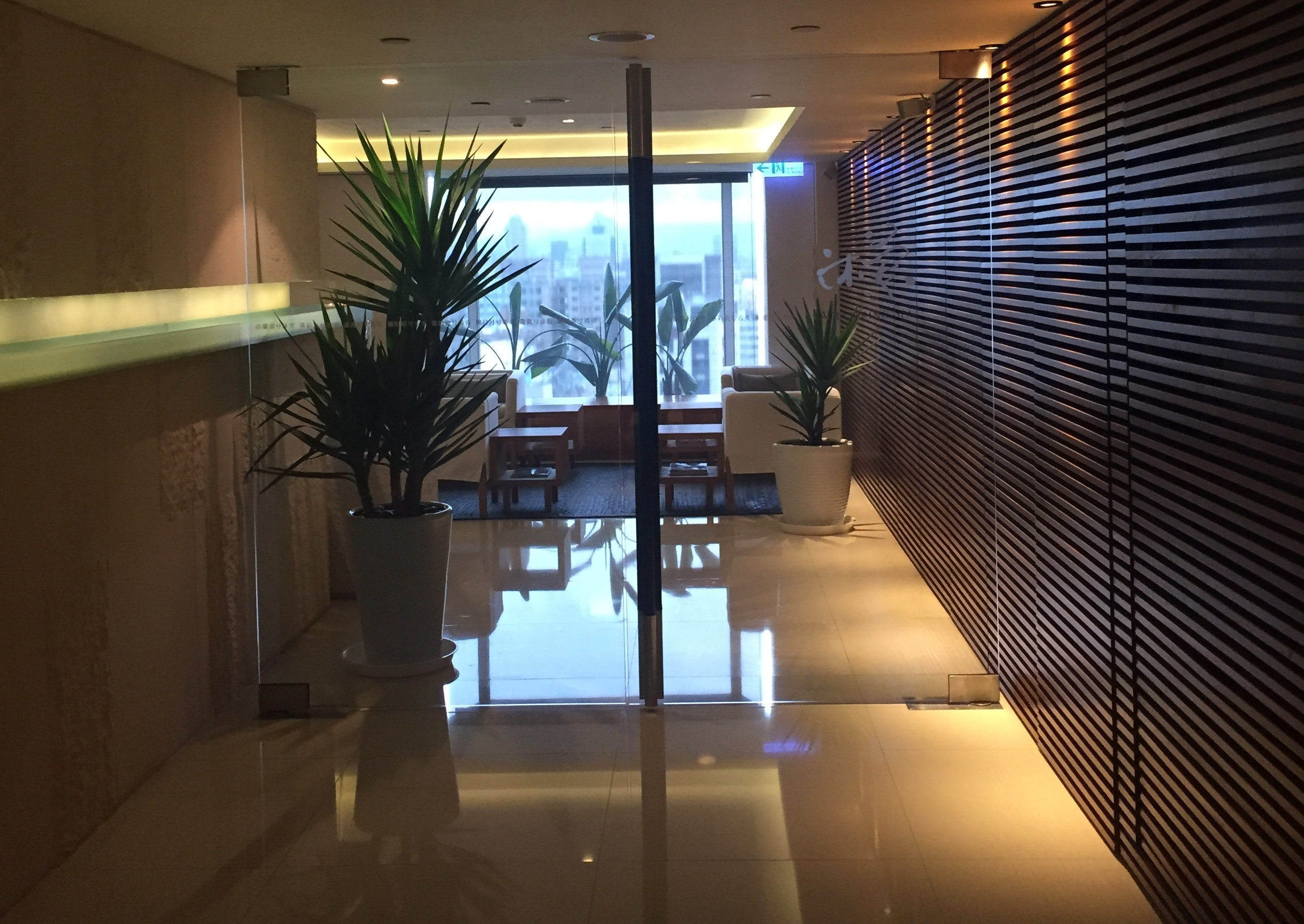 Peaceful entrance to the Wellspring Spa on the 20th floor at The Regent Taipei