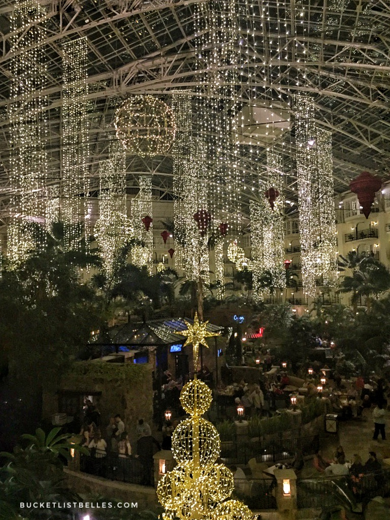 Holiday decorations at Opryland among the plants and restaurants.
