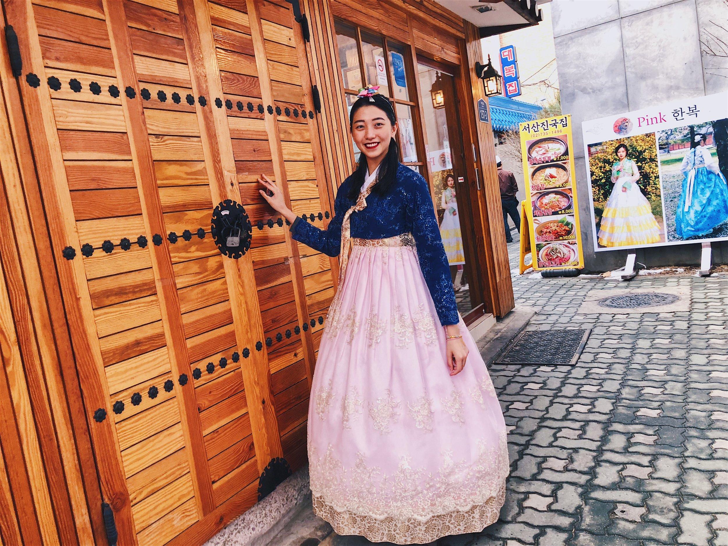 Outside the Hanbok rental shop